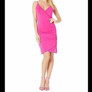 BEBE Very Berry V Neck Side Ruche Sleeveless Dress